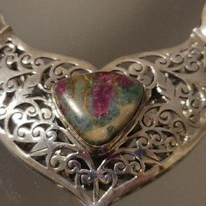 Jewelry - Ruby in Fuchsite Sterling Silver Necklace